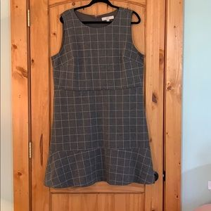 Loft Windowpane Flounce Dress